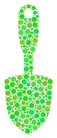 Scoop Shovel composition of filled circles in various sizes and fresh green color hues. Raster dots are united into scoop shovel composition. Organic raster illustration.