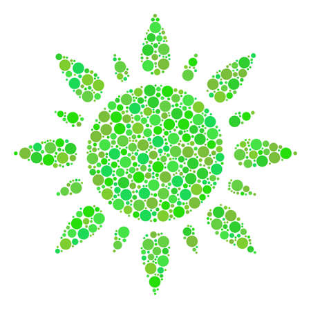 Sun mosaic of dots in different sizes and eco green color tones. Raster round dots are organized into sun illustration. Ecology design concept.