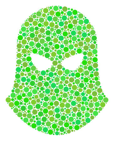 Terrorist Balaklava collage of circle elements in various sizes and eco green shades. Raster round dots are united into terrorist balaklava collage. Freshness design concept.