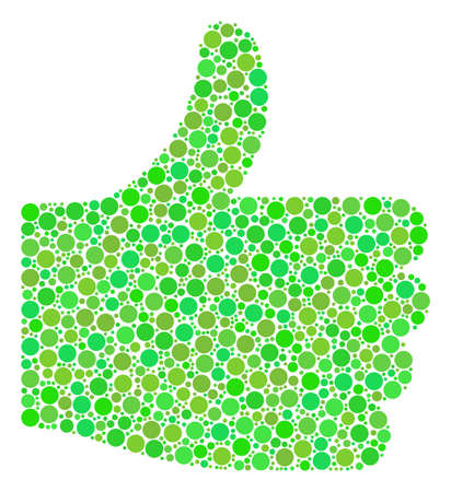 Thumb Up mosaic of dots in various sizes and fresh green color tints. Raster round elements are organized into thumb up composition. Freshness design concept. Stock Photo