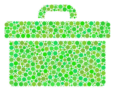 Toolbox mosaic of circle elements in different sizes and fresh green color hues. Raster circle elements are combined into toolbox collage. Eco raster illustration.