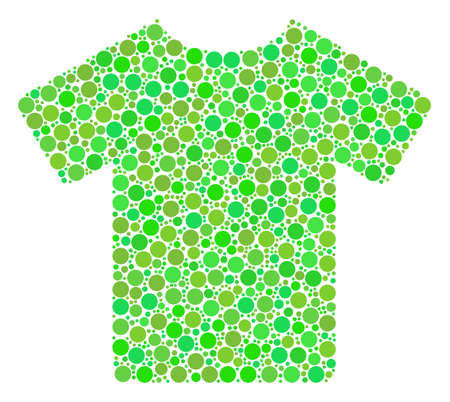 T-Shirt collage of circle elements in different sizes and green color hues. Raster filled circles are composed into t-shirt collage. Fresh design concept.