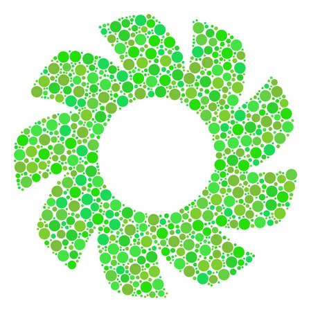 Turbine composition of dots in various sizes and fresh green color tones. Raster circle elements are composed into turbine collage. Organic raster illustration.