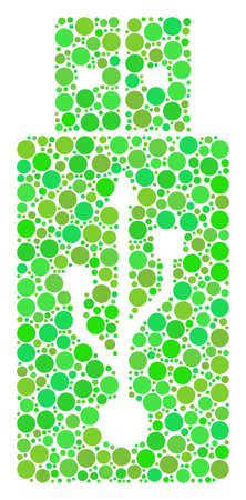 USB Flash Drive composition of filled circles in different sizes and ecological green color tones. Raster filled circles are composed into usb flash drive composition. Freshness raster illustration.