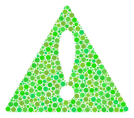 Warning mosaic of dots in variable sizes and fresh green color tinges. Raster filled circles are combined into warning composition. Fresh design concept. Фото со стока