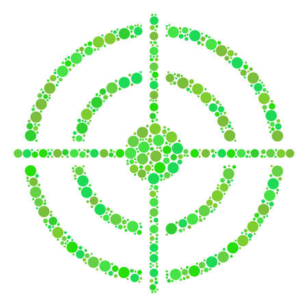 Target Bullseye collage of filled circles in different sizes and green shades.