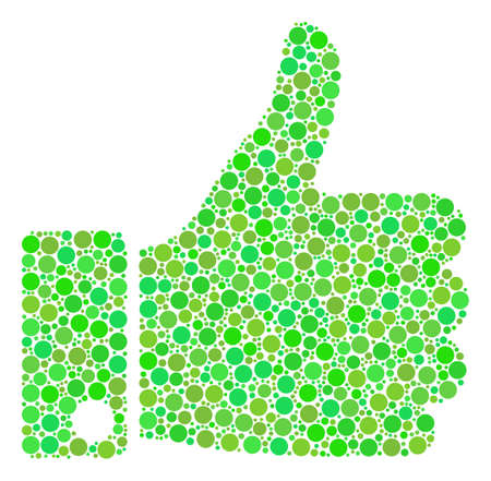 Thumb Up collage of dots in variable sizes and green color tinges. Vector round dots are organized into thumb up mosaic.