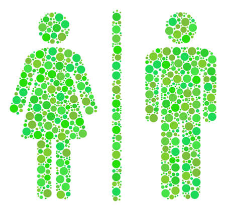 Toilet Persons composition of filled circles in various sizes and eco green color tints.