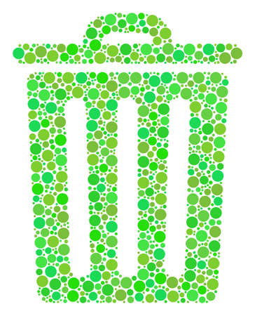 Trash Bin collage of filled circles in various sizes and ecological green color tinges.