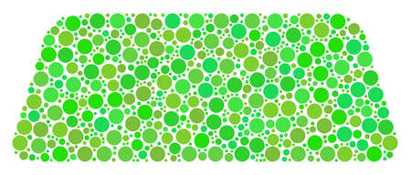 Treasure Brick composition of circle elements in variable sizes and fresh green color tinges.