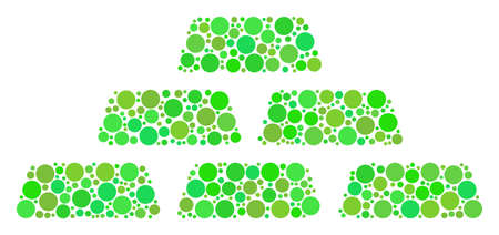 Treasure Bricks mosaic of dots in variable sizes and eco green color tones. Illustration