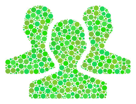 Users collage of dots in different sizes and fresh green color hues. Vector dots are grouped into users composition.