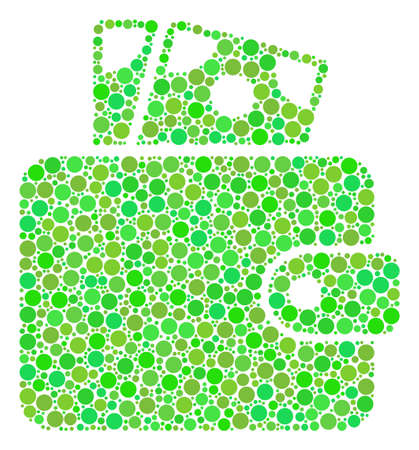 Wallet composition of filled circles in various sizes and green color tints. Illustration