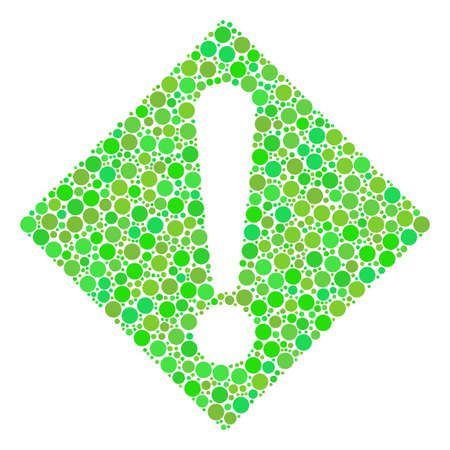 Warning composition of dots in variable sizes and ecological green shades.