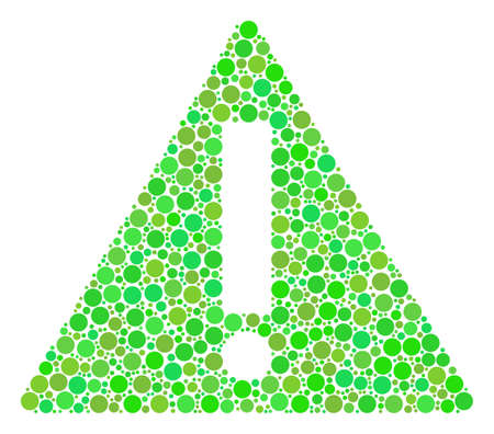Warning composition of dots in various sizes and ecological green color tinges.