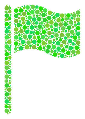 Waving Flag collage of dots in different sizes and fresh green color tinges.