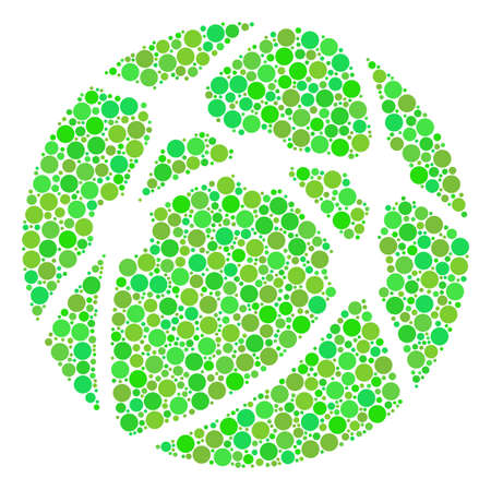 Web Browser mosaic of filled circles in variable sizes and ecological green color tinges.