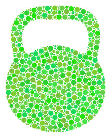 Weight mosaic of dots in various sizes and eco green color hues.
