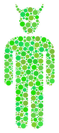 Daemon collage of dots in variable sizes and eco green color tints. Vector round elements are combined into daemon collage. Eco design concept. Vettoriali