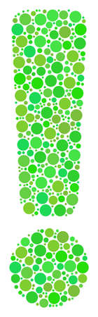 Exclamation Sign collage of dots in variable sizes and ecological green color tinges. Vector round dots are organized into exclamation sign composition. Eco vector illustration. Vectores