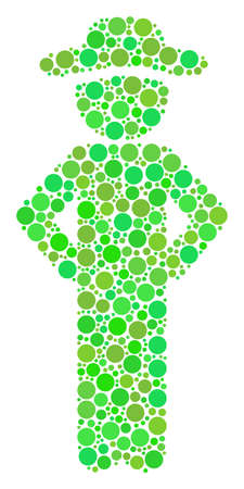 Gentleman Akimbo collage of dots in various sizes and ecological green shades. Vector round dots are composed into gentleman akimbo illustration. Ecological design concept. Illustration