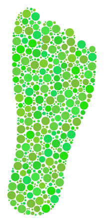 Human Footprint mosaic of filled circles in various sizes and ecological green color hues. Vector filled circles are grouped into human footprint collage. Eco vector illustration.