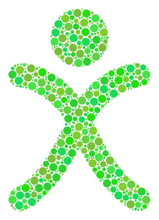 X Generation Boy collage of filled circles in various sizes and eco green color hues. Vector circle elements are composed into x generation boy illustration. Freshness vector illustration. Illustration