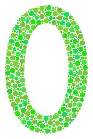 Zero Digit mosaic of filled circles in various sizes and ecological green color hues. Vector dots are combined into zero digit mosaic. Fresh design concept.