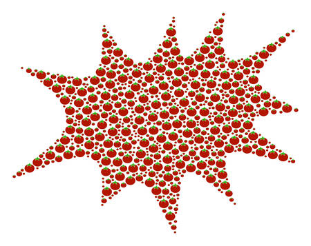 Boom Bang collage of tomato. Vector tomato vegetable objects are grouped into boom bang figure. Vegetable vector design concept.