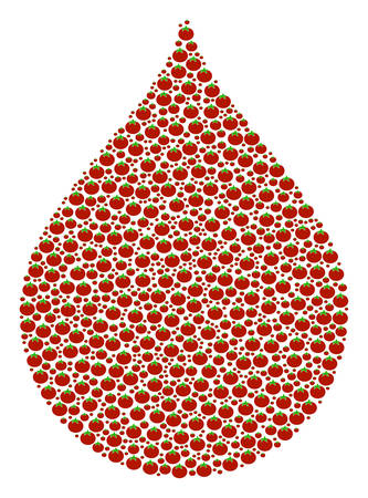 Drop mosaic of tomato. Vector tomato vegetable items are grouped into drop collage. Natural vector illustration.