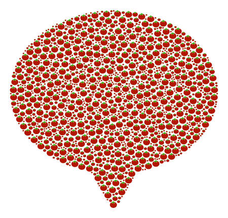 Hint mosaic of tomato. Vector tomato objects are combined into hint figure. Vegan vector design concept.