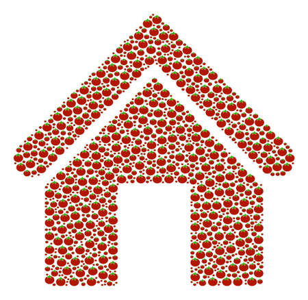 Home collage of tomato. Vector tomato items are grouped into home pattern. Salad vector illustration.