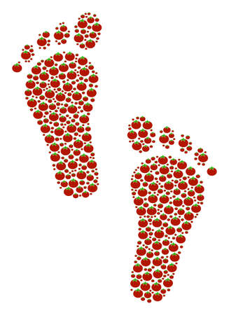 Human Steps composition of tomato vegetables. Vector tomato vegetable objects are grouped into human steps pattern.