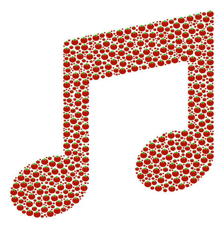 Music Notes mosaic of tomato. Vector tomato vegetable symbols are organized into music notes figure. Illustration