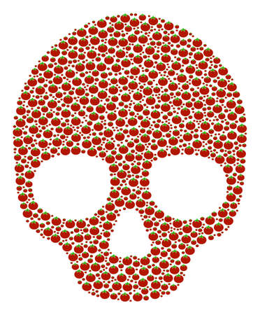 Skull collage of tomato vegetables. Vector tomato elements are combined into skull mosaic. Vegetable vector illustration. Illustration