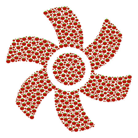 Rotor composition of tomato. Vector tomato elements are combined into rotor shape. Diet vector illustration.