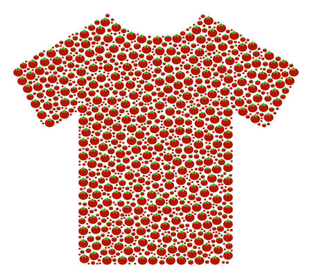 T-Shirt collage of tomato. Vector tomato items are united into t-shirt mosaic. Vegetable vector illustration. Illustration