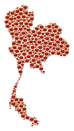 Thailand Map composition of tomato vegetables. Vector tomato elements are composed into thailand map illustration. Vegetarian vector illustration.