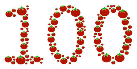 100 Text mosaic of tomato in various sizes. Vector tomatoes elements are composed into 100 text illustration. Vegetable vector design concept.