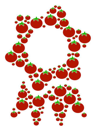 Award mosaic of tomato vegetables in different sizes. Vector tomatoes objects are united into award figure. Tomatoes vector illustration. Illustration