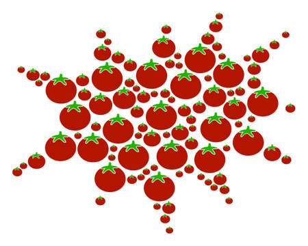 Boom Bang composition of tomatoes in variable sizes. Vector tomato objects are united into boom bang pattern. Vegetarian vector illustration.
