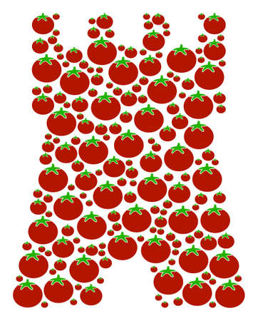Bulwark Tower mosaic of tomato vegetables in different sizes. Vector tomato vegetable symbols are composed into bulwark tower figure. Healthy vector illustration. Ilustrace