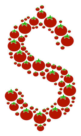 Dollar collage of tomatoes in variable sizes. Vector tomato vegetable objects are combined into dollar illustration. Salad vector design concept.