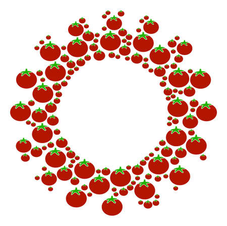 Gear composition of tomato vegetables in different sizes. Vector tomato items are united into gear figure. Healthy vector illustration. Illustration