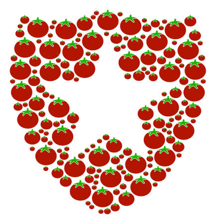 Guard collage of tomatoes in different sizes. A Vector tomato elements are grouped into guard mosaic. Illustration