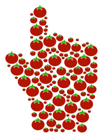 Index Finger collage of tomato vegetables in different sizes. Vector tomato vegetable symbols are grouped into index finger collage. Tomatoes vector design concept.