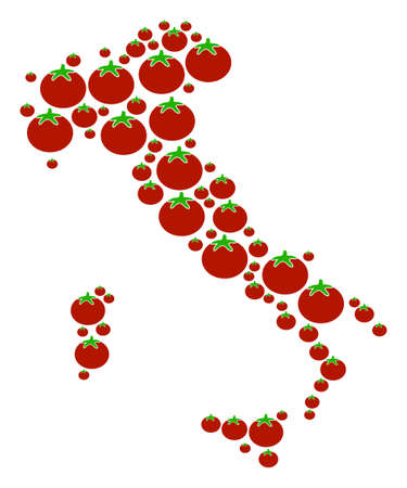 Italy Map composition of tomato vegetables in various sizes. Vector tomato vegetable items are grouped into italy map composition. Tomatoes vector illustration. Illustration