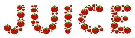 Juice Word composition of tomatoes in different sizes. Vector tomato symbols are combined into juice word figure. Vegetarian vector design concept. Illustration