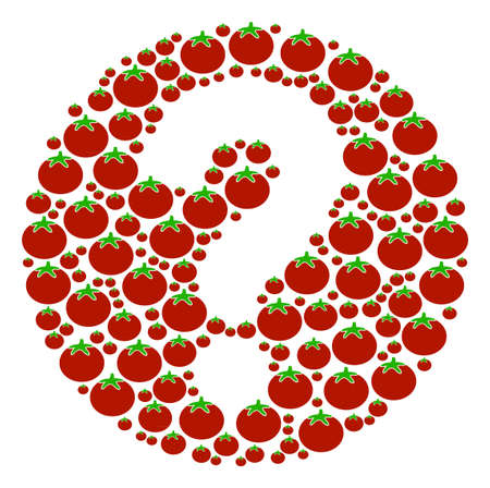 Query composition of tomatoes in different sizes. Vector tomato vegetable symbols are combined into query collage. Vegan vector illustration.