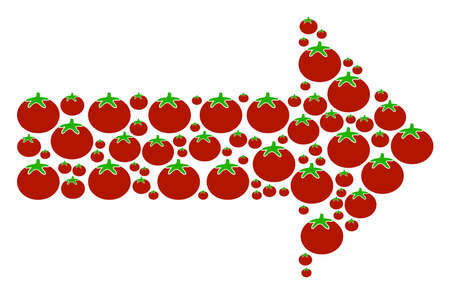Right Arrow composition of tomatoes in various sizes. Vector tomatoes items are organized into right arrow composition. Tomatoes vector design concept.  イラスト・ベクター素材